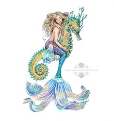 inch PRINT Mermaid Riding Seahorse White Background Full Colour Art Acrylic Painting Signed on Back Mermaid Artwork, Mermaid Drawings, Mermaid Tattoos, Seahorse Tattoo, Seahorse Art, Seahorses, Seahorse Drawing, Tatoo Art, Body Art Tattoos