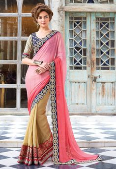 #Pink #GeorgetteSaree with Blouse