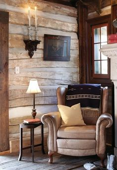 Ski Lodge Decor - hmm, could also stencil wall panels to look like log walls? Maybe in back? #LodgeDecor