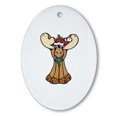 Cute Christmas Moose Cute Oval Ornament by CafePress. Celebrate Christmas with this cute design by Dooni Designs. Email me at doonidesignsaol.com with special requests. Seasons Greetings Cute Oval Ornament Instantly accessorize bare wall-space with our Oval Ornament. Makes great room or office accessories, fun favors for birthday parties, wedding or baby shower Ornaments, or adding a unique, special touch to gift-wrapped packages. Comes with its own festive. Price: $12.50