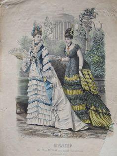Evening dresses, 1874 Austria-Hungary (modern-day Hungary), Budapesti Bazárra
