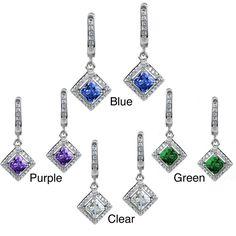 West Coast Jewelry Elya Sterling Silver Cushion-cut CZ Halo Dangle Earrings