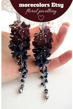 Super sparkling long floral earrings.  Material - silver plated over brass, zircon. Bright and shinee, I hope this art earrings would be perfect to your formal dress!  Long formal earrings with dark flowers of polymer clay and cristal beads. Ombre plum & blue colors flowers of polymer clay