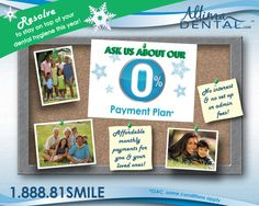A new year's RESOLUTION: Don't forget about your teeth & save with our 0% payment plan! More info here: http://www.altimadental.com/financing/index.php #newyearsresolution #loveyoursmile #altimadental #treatyourself