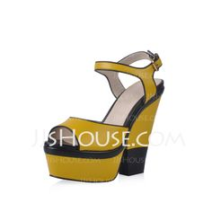 Pumps - $145.99 - Real Leather Chunky Heel Platform Slingbacks Sandals With Buckle (085025550) http://jjshouse.com/Real-Leather-Chunky-Heel-Platform-Slingbacks-Sandals-With-Buckle-085025550-g25550