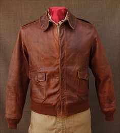 NAK * Vintage A-2 Distressed Brown Heavy Leather Flight Jacket 46 ...