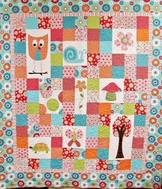 Katelyn Quilt Pattern. Very colorful, maybe too much, but I like how the squares are offset so it looks difficult but is more just creative. Animal baby quilt.