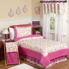 Pink and Green Mod Circles Kid Bedding Kits