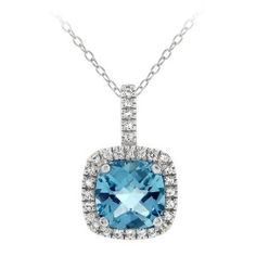Sterling Silver Square Swiss Blue and White Topaz Pendant Necklace, 18