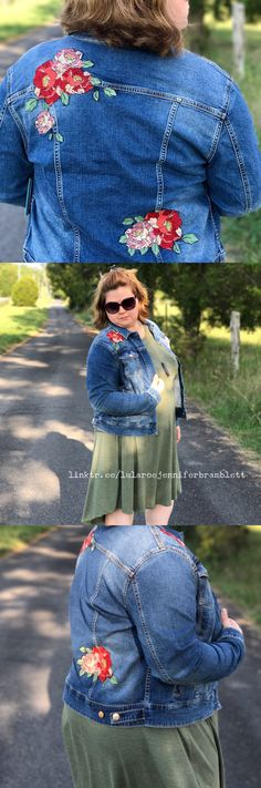 How I wear Lularoe Harvey + Lularoe Carly  Denim, Lularoe, Vintage Flowers, Embroidery, Lularoe Jennifer Bramblett