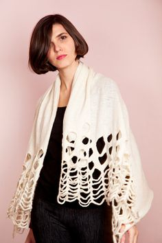 Lace shawl felted with hand cut out fretwork in by texturable, $115.00