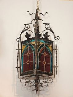 Antique Wrought Iron Stained Glass Lantern circa 1860-1880 | Keils Antiques | New Orleans | Since 1899