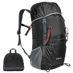 G4Free Large 40L Lightweight Water Resistant Travel Backpackfoldable  Packable Hiking DaypackBlack *** See this great product.