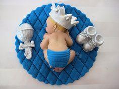 Boy Prince Baby Shower First Birthday FONDANT BOY Cake Topper Baptism Christening Crown favors decorations. $25.00, via Etsy.