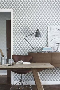 Papier peint graphique gris et blanc