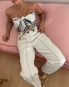 Summer's It Top Is Probably Buried in Your Drawer Somewhere | Who What Wear Scarf Top, Scarf Shirt, Shirt Outfit, Casual Outfits, Cute Outfits, Fashion Outfits, Fashion Trends, Fashion Scarves, Fashion Fashion