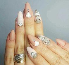 nail art, diamonds, and beautiful nails