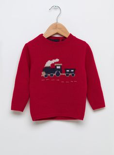 Baby Boys Thomas Train Jumper in Red| Trotters Childrenswear
