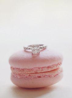 Cute macaron + engagement ring shot