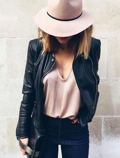 nude hat + motojacket cool outfit idea
