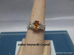 Amber Swarovski Crystal Prong Ring by BobsFashionJewelry on Etsy