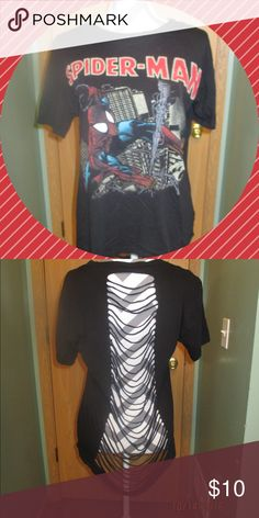 Forever 21 - Spiderman Tee Fun spiderman tee shirt. With shredded open back Tops Tees - Short Sleeve