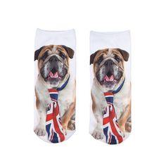 New Fashion Hot Sale Lovely Dog Animal Print Double-sided 3D Printed Socks Retro Straight Boat Socks Unisex Socks