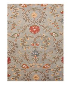 Take a look at this Gray & Coral Traditional Floral Wool Rug by Jaipur Rugs on #zulily today!