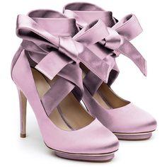Liam Fahy Charlotte Lilac Duchess Satin Cross Court Shoes (4 130 ZAR) ❤ liked on Polyvore featuring shoes, pumps, heels, purple, bow pumps, purple platform pumps, bow heel pumps, heel platform shoes and platform heels pumps