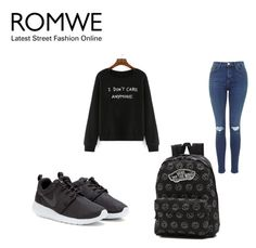 """""""Romwe contest"""" by almaaa789 ❤ liked on Polyvore featuring NIKE, Vans, women's clothing, women's fashion, women, female, woman, misses and juniors"""