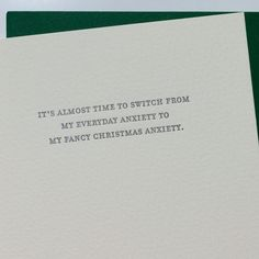 Holiday Anxiety Letterpress Card
