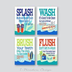 "Childrens Kids Bathroom Art Prints Set of (4) 5"" x 7"" Surf Board Theme // White, Teal, Blue, Red-Orange // Fine Art Kids Decor - UNFRAMED"