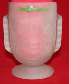 TIKI Mug Frosted Glass Vintage Walt Disney World Resort 20 OZ Polynesian Village