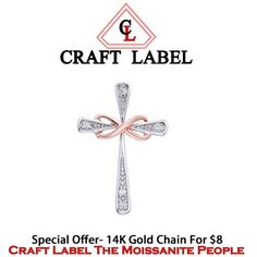 "14K White Gold Round Brilliant Cut Two Tone Infinity Cross Pendant Without Chain ""Mother\'s Day Gift"". Starting at $1"