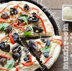 Vegan Vegetarian Mushroom and White Sauce Pizza