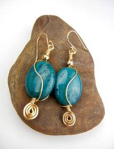 Gemstone earrings dark teal dyed howlite with by MadMamaMiller, $19.50