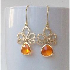 Bright Orange Crystal Gold Dangle Fashion by PeriniDesigns on Etsy via Polyvore