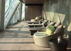 Unwind in Rayana Spa's relaxation room at HYATT Capital Gate, Abu Dhabi.