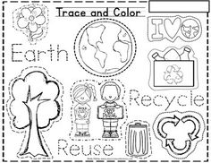 This Is A Fun Trace And Color Earth Day Themed Skill Sheet Where Students Will The Different