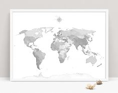 Grey and white world map printable modern map print map poster gray world map wall art gumiabroncs Gallery