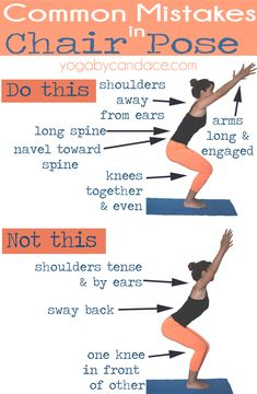 Pin it! Common mistakes in Chair Pose. Wearing: lululemon leggings (similar on super sale!), f21 tank. Using: yogitoes towel.