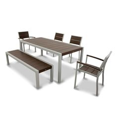 Trex Outdoor Furniture Surf City Textured Silver 6-Piece Patio Dining Set with Vintage Lantern Slats