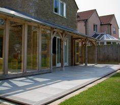 Garden porch with Quartz porcelain paving slabs