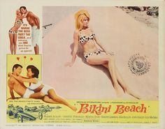 "Lobby Card for the AIP film ""Bikini Beach"" (1964), starring Annette Funicello and Frankie Avalon"