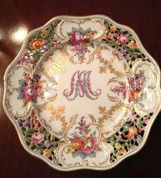 Fabulous Dresden Antique Pedestal Cake Plate |