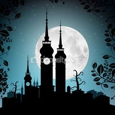 Full Moon Vector Illustration with Town Silhouette - Houses and Towers Cityscape — Stock Vector #70209957