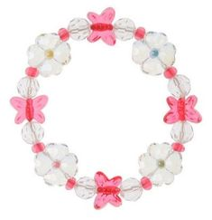 Beaded Butterfly and Flower Bracelet  Price $3.99 Butterfly Gifts, Fairy Jewelry, Flower Bracelet, Crochet Necklace, Gift Wrapping, Beaded Bracelets, Shapes, Beads, Flowers