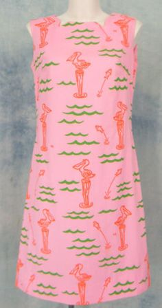VESTED-GENTRESS-VtG-60s-70s-NOVELTY-PiNK-PELiCAN-NAUTiCAL-FiSH-SHiFT-DRESS-sz12