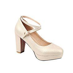 MissSaSa Damen modern und elegant high-heel Plateau Low-cut cross Riemchen Schnalle Pumps (38, Gold(hellgold))