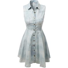 LE3NO Womens Sleeveless Chambray Denim Flared Dress (135 RON) ❤ liked on Polyvore featuring dresses, chambray dress, flared dress, button front dress, flare dress and pocket dress